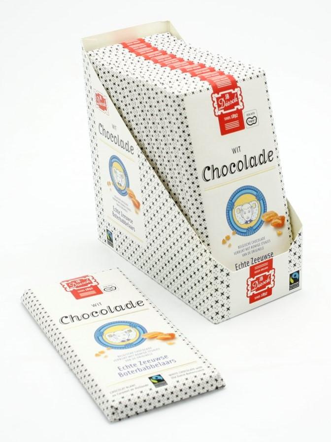 Chocoladereep met babbelaar wit