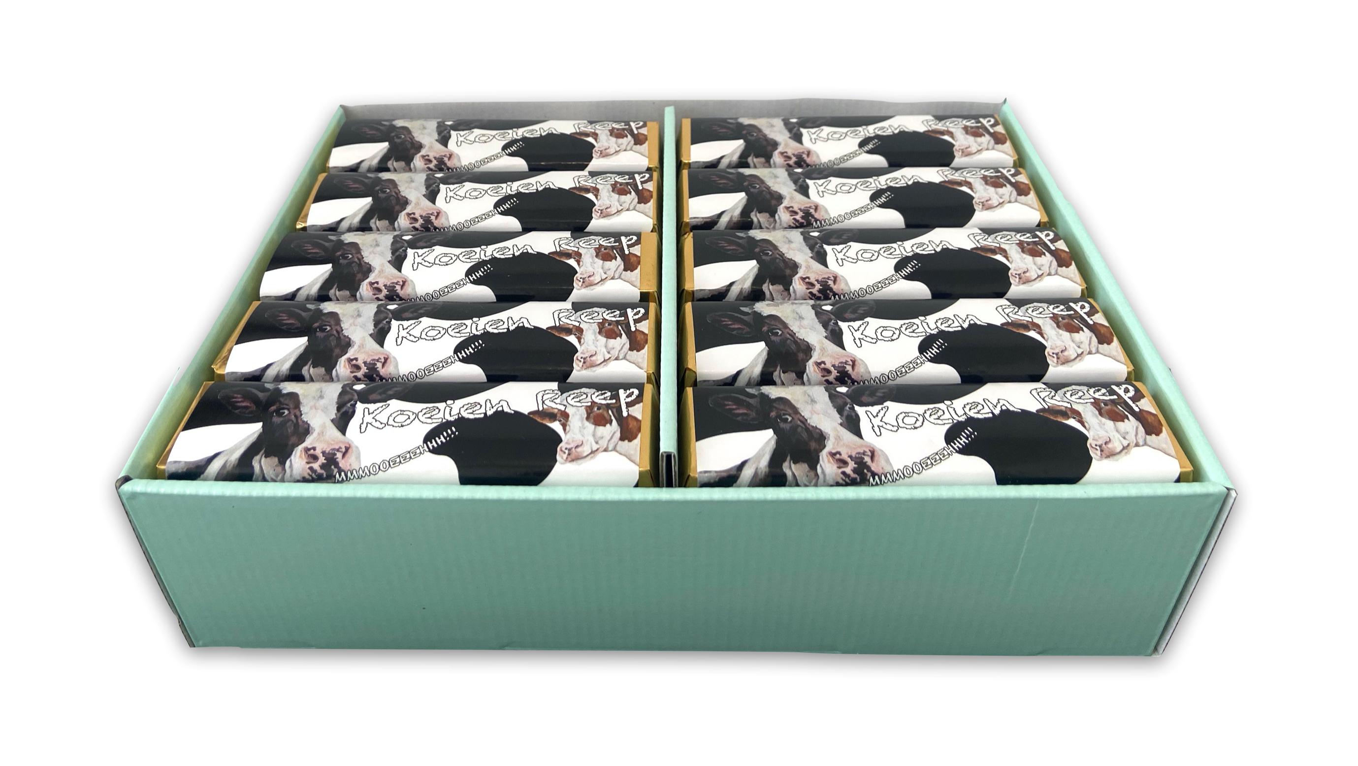 JanBax boerderij lekkernij koeienreep chocolade [displaydoos 40 repen]